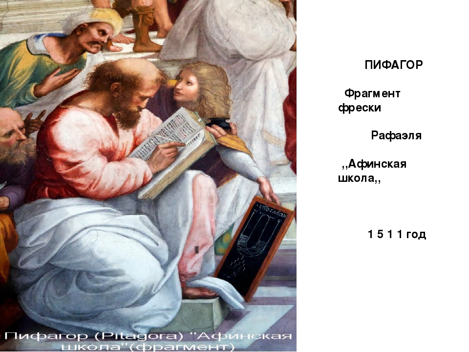 ПИФАГОР Фрагмент фрески Рафаэля ,,Афинская школа,, 1 5 1 1 год