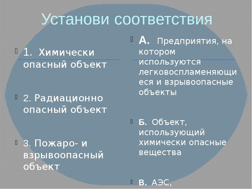 Установи соответствия 1. Химически опасный объект 2. Радиационно опасный объе...