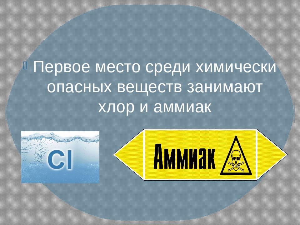 Первое место среди химически опасных веществ занимают хлор и аммиак
