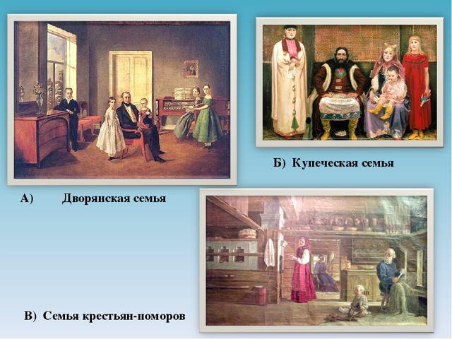 А) Дворянская семья Б) Купеческая семья В) Семья крестьян-поморов