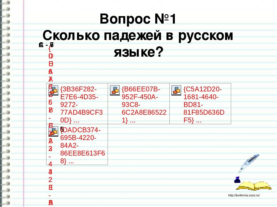 Вопрос №1 Сколько падежей в русском языке? http://ku4mina.ucoz.ru/