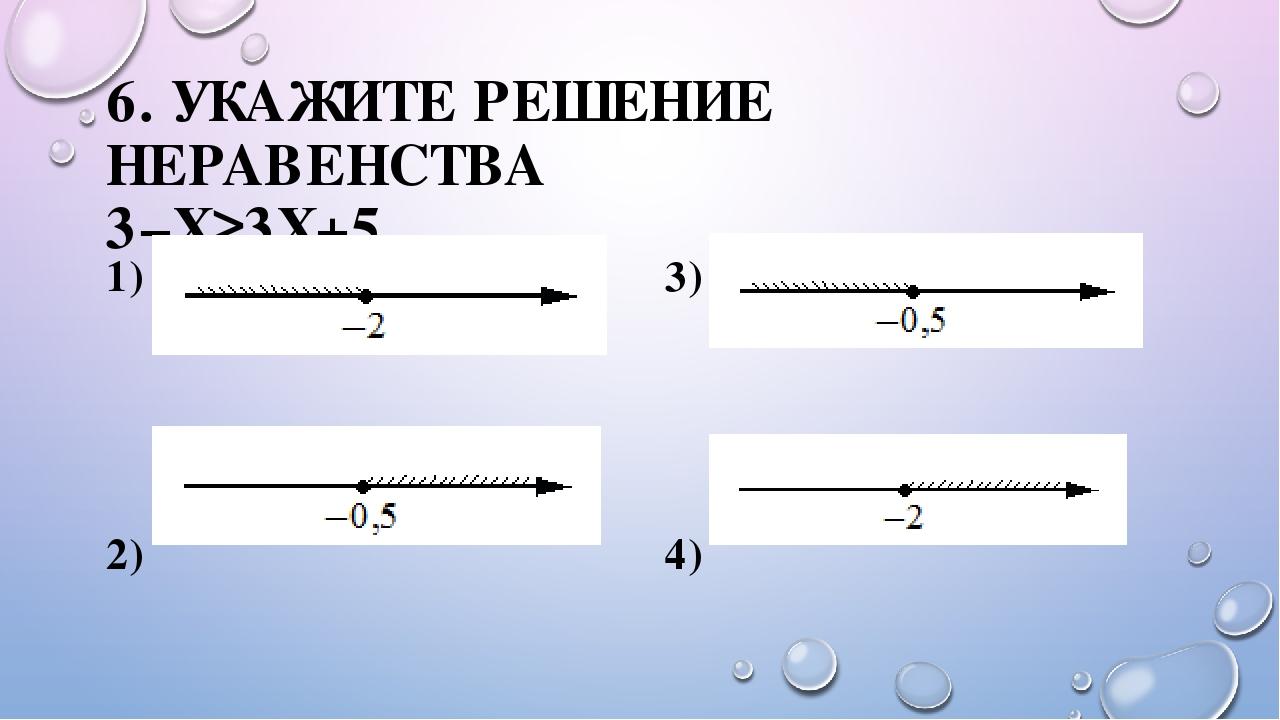 6. УКАЖИТЕ РЕШЕНИЕ НЕРАВЕНСТВА 3−X≥3X+5. 1) 3) 2) 4)