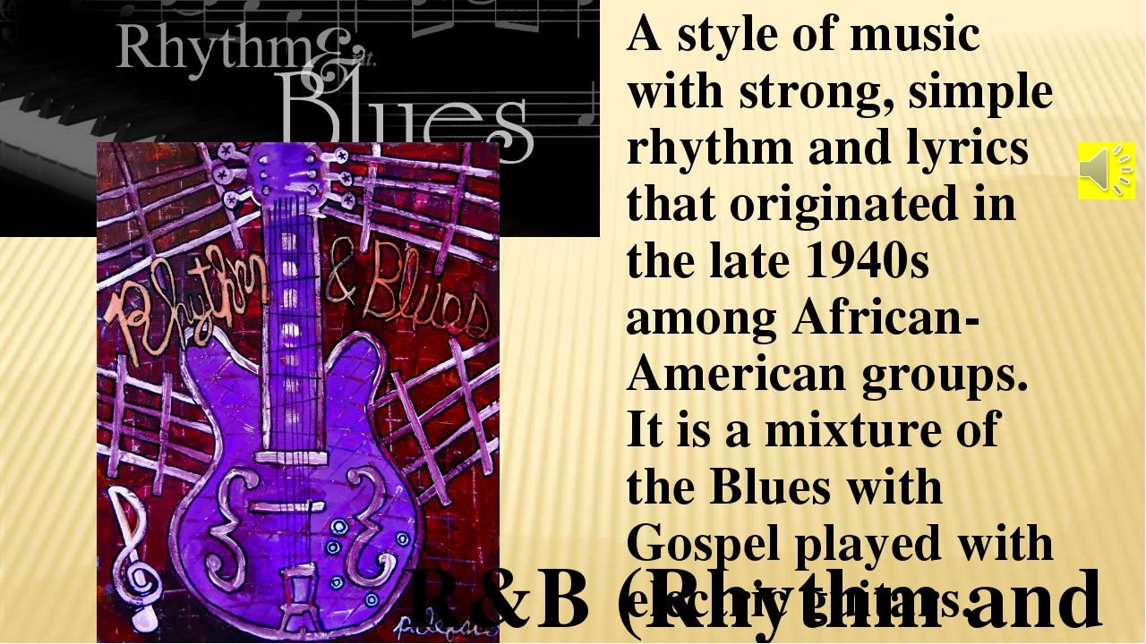 A style of music with strong, simple rhythm and lyrics that originated in the...