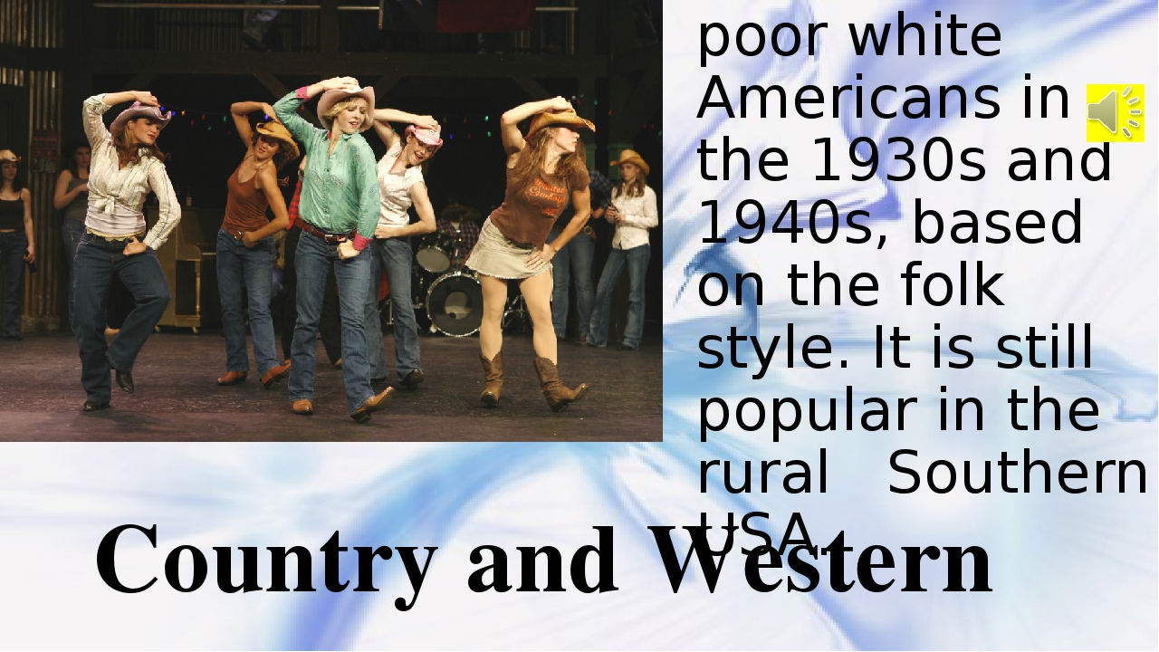 The music of poor white Americans in the 1930s and 1940s, based on the folk s...