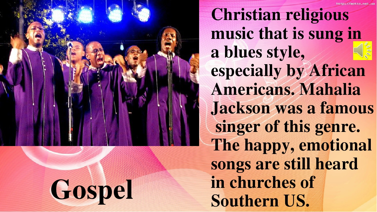 Christian religious music that is sung in a blues style, especially by Africa...