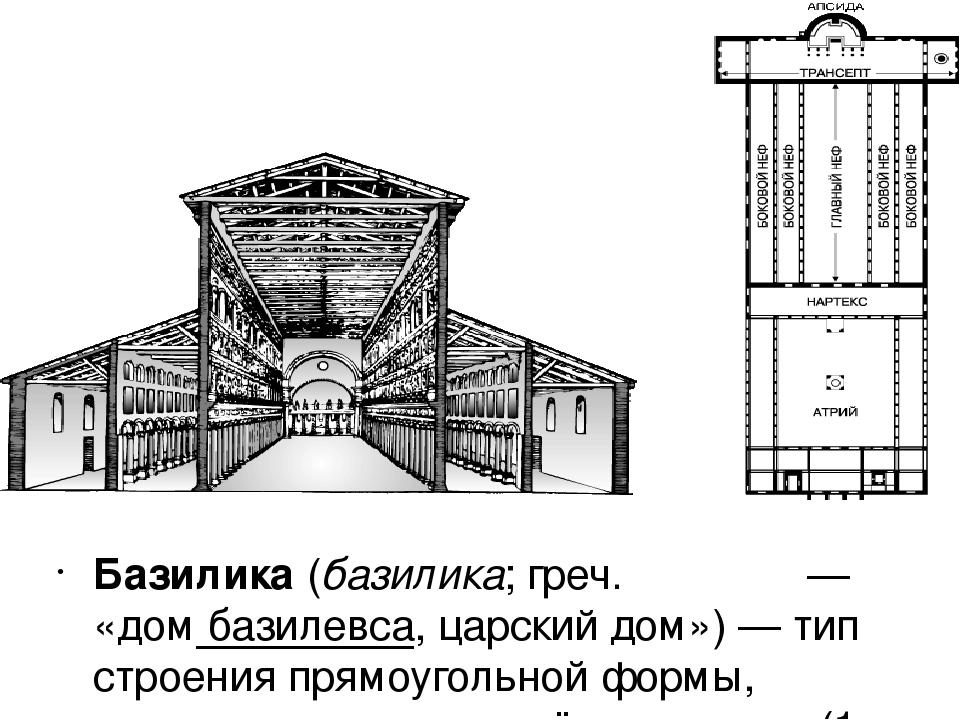 Бази́лика(базили́ка;греч.βασιλική— «домбазилевса, царский дом»)— тип с...