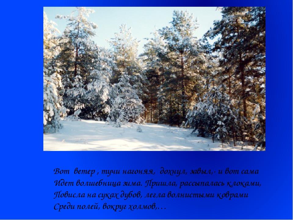 Вот ветер , тучи нагоняя, дохнул, завыл,- и вот сама Идет волшебница зима. П...