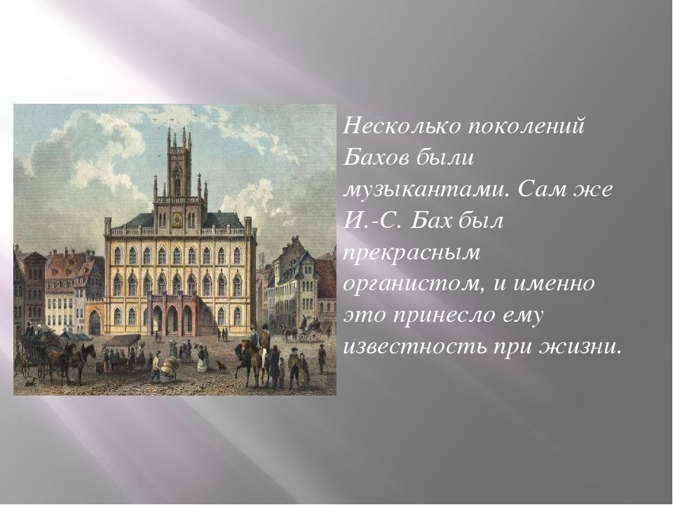 Несколько поколений Бахов были музыкантами. Сам же И.-С. Бах был прекрасным о...