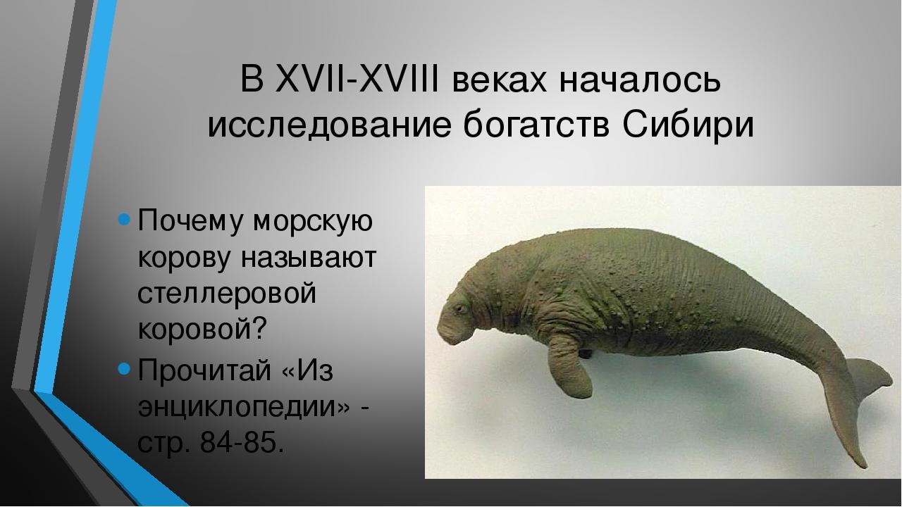 В XVII-XVIII веках началось исследование богатств Сибири Почему морскую коров...