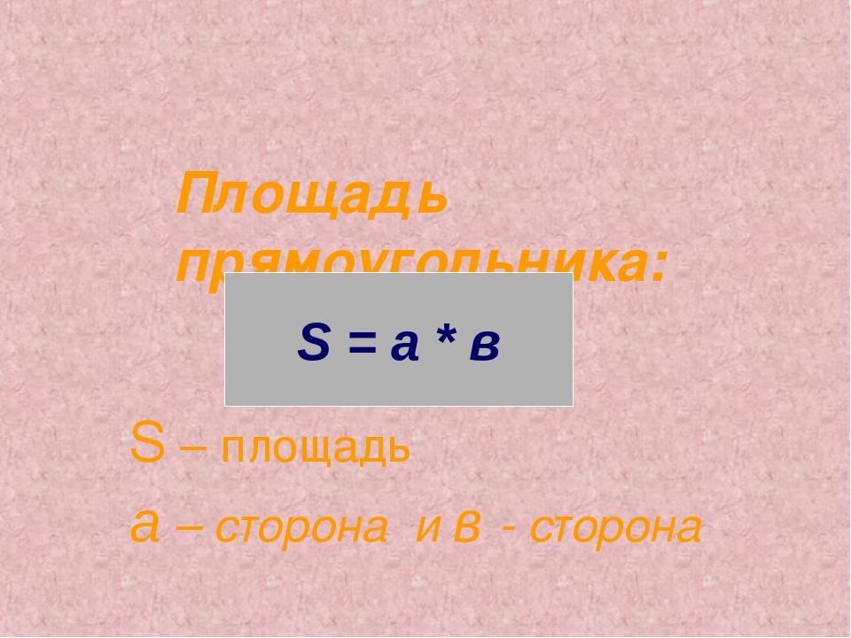 Площадь прямоугольника: S – площадь а – сторона и в - сторона S = a * в