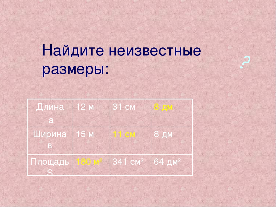 Найдите неизвестные размеры: 64 дм2 341 см2 180 м2 Площадь S 8 дм 11 см 15 м...