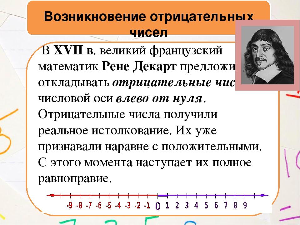 Возникновение отрицательных чисел В XVII в. великий французский математик Ре...