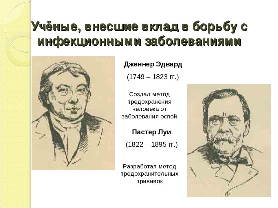 Дженнер Эдвард (1749 – 1823 гг.) Пастер Луи (1822 – 1895 гг.) Создал метод пр...