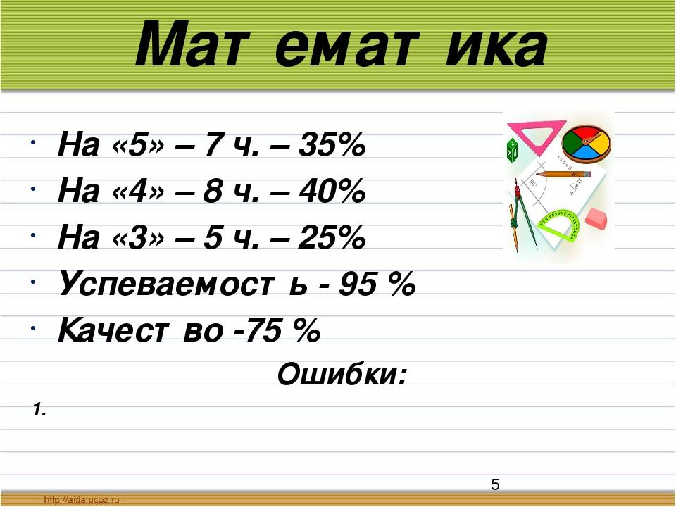 Математика На «5» – 7 ч. – 35% На «4» – 8 ч. – 40% На «3» – 5 ч. – 25% Успева...