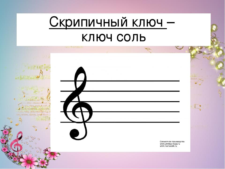 Картинка нотного стана и скрипичного ключа