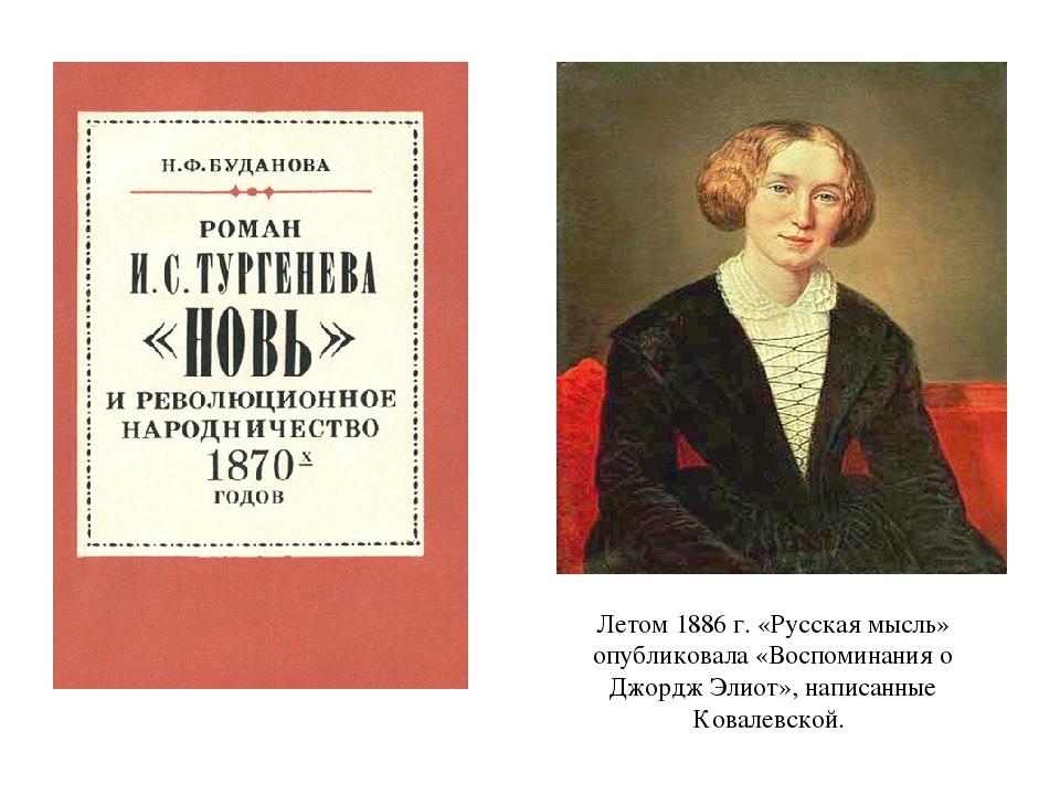 Летом 1886 г. «Русская мысль» опубликовала «Воспоминания о Джордж Элиот», нап...