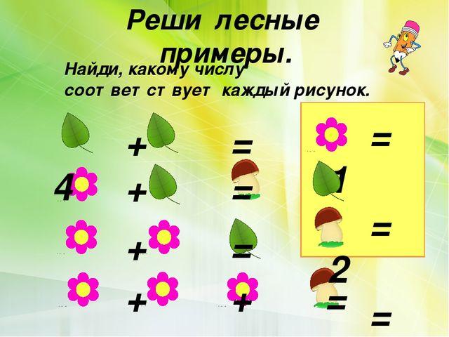 Реши лесные примеры. Найди, какому числу соответствует каждый рисунок.