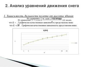 1. Зависимость дальности полета от высоты здания 2. Анализ уравнений движения