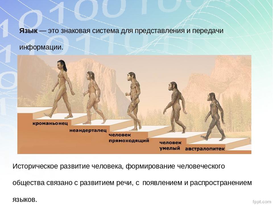 Язык — это знаковая система для представления и передачи информации. Историче...