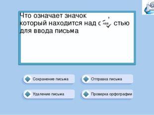 Проверка орфографии Отправка письма Сохранение письма Удаление письма Что озн