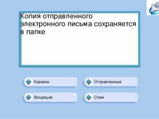Отправленные Корзина Спам Входящие Копия отправленного электронного письма со