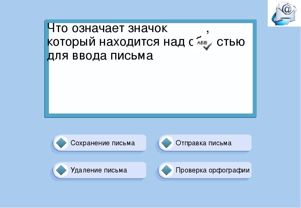 Проверка орфографии Отправка письма Сохранение письма Удаление письма Что озн...
