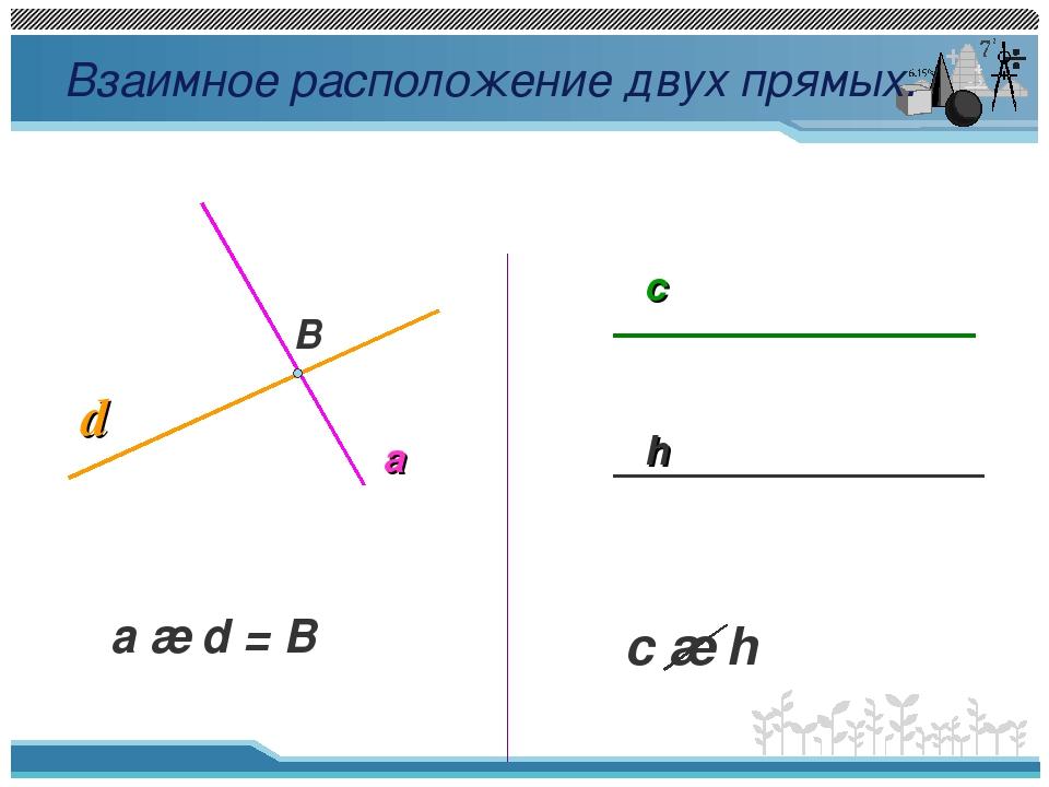 Взаимное расположение двух прямых. B d a a ∩ d = B c h c ∩ h