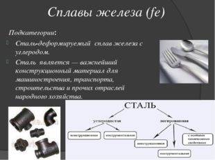 Сплавы железа (fe) Подкатегории: Сталь-деформируемый сплав железа с углеродо