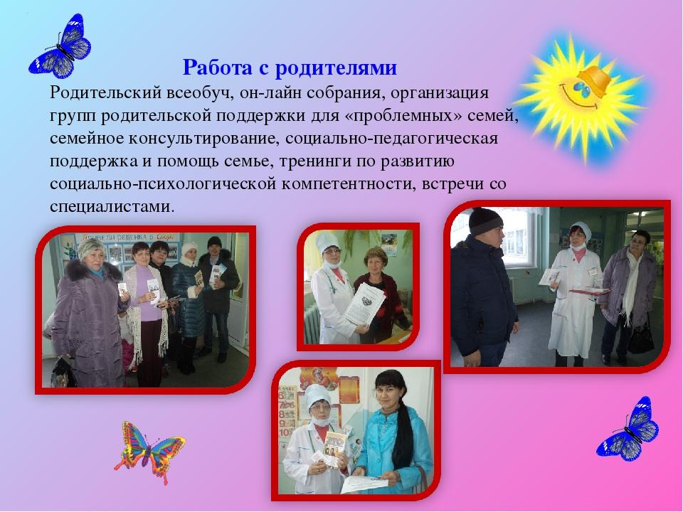 Работа с родителями Родительский всеобуч, он-лайн собрания, организация групп...