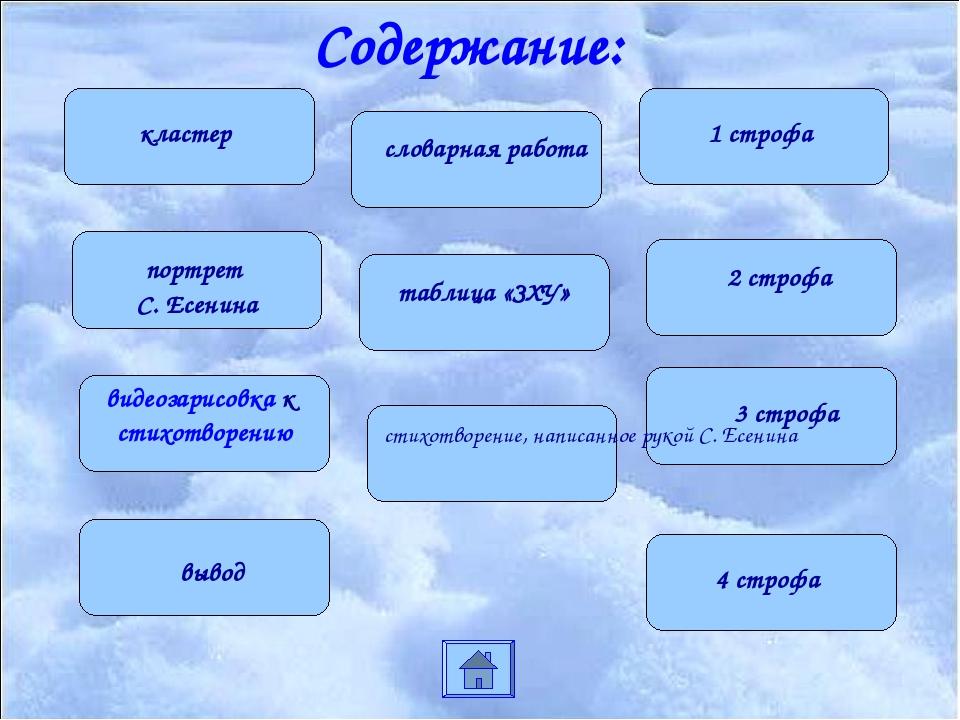 Содержание: кластер портрет С. Есенина видеозарисовка к стихотворению словарн...