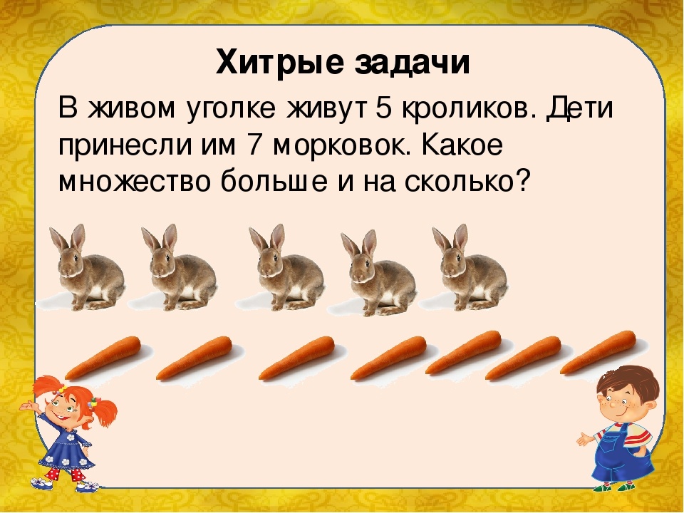 Хитрые задачи В живом уголке живут 5 кроликов. Дети принесли им 7 морковок....