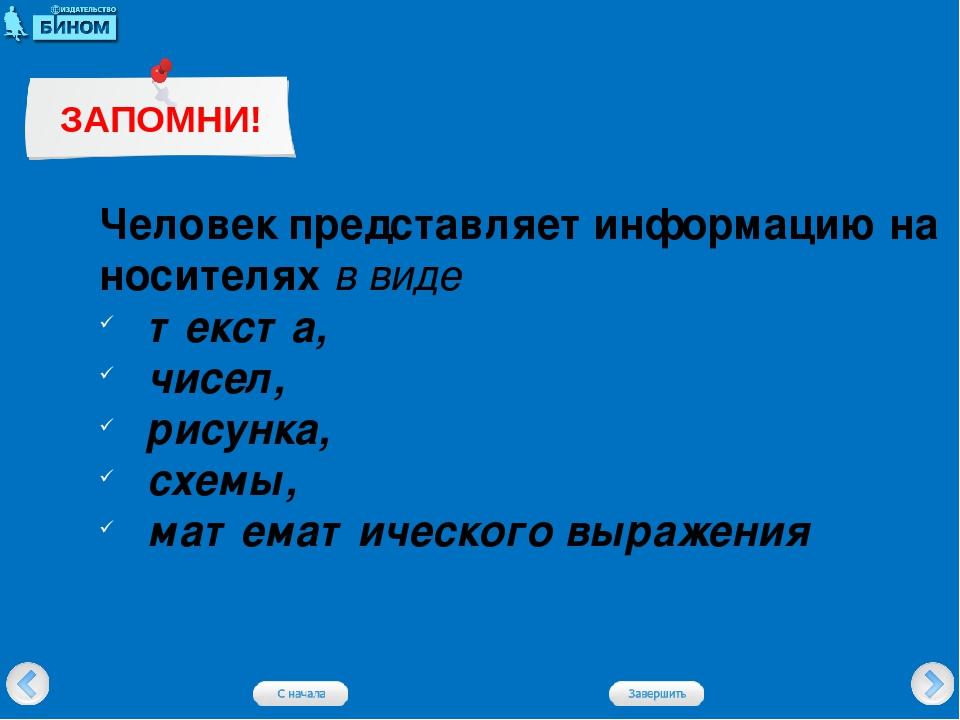 Человек представляет информацию на носителях в виде текста, чисел, рисунка, с...