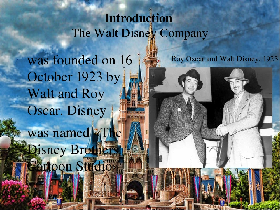 the history of the disney company Disney company or walt disney as it is popularly known started in october 1923 walt disney and his brother roy disney began the disney company at the back of a real estate office in los angeles the disney brothers began with producing a series known as alice comedies.