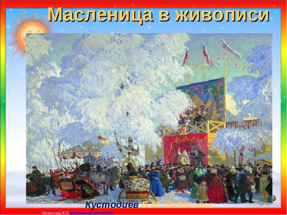 Масленица в живописи Кустодиев Б.М. Балаганы.