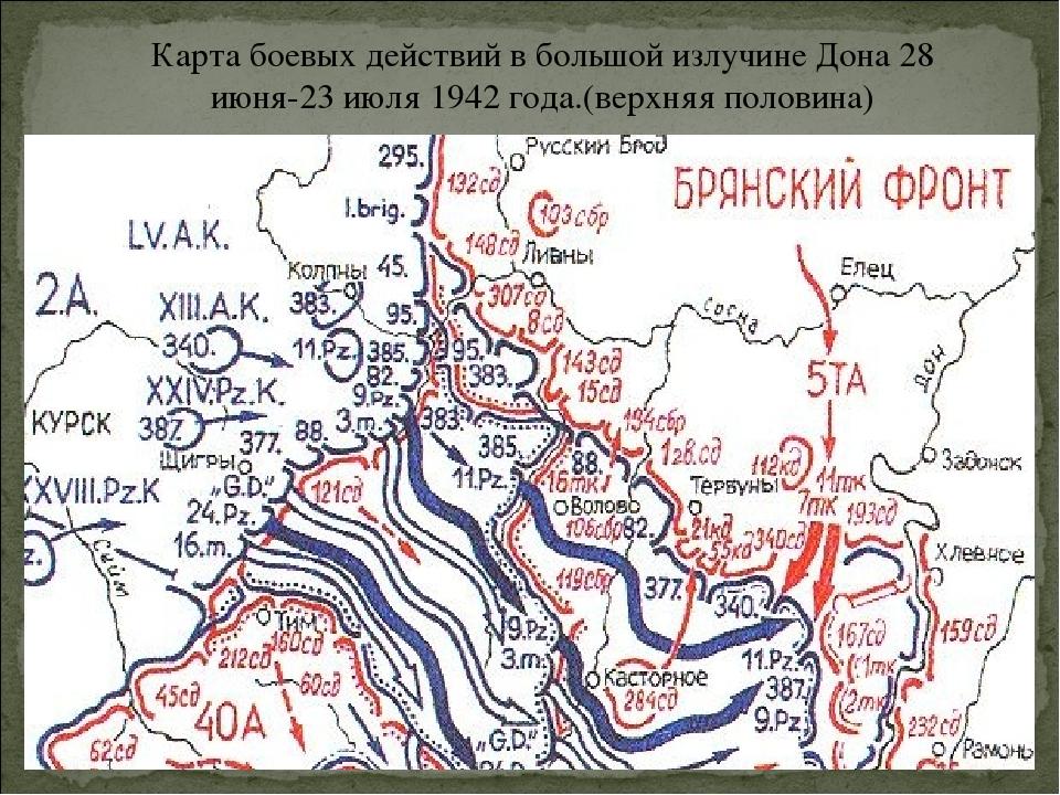 Карта боевых действий в большой излучине Дона 28 июня-23 июля 1942 года.(верх...