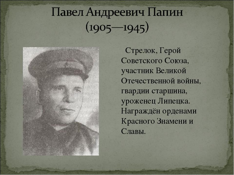 Стрелок, Герой Советского Союза, участник Великой Отечественной войны, гвард...