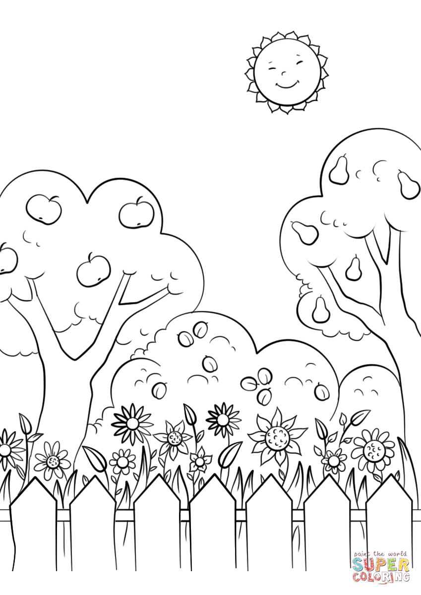 beautiful garden coloring page free printable coloring pages - HD849×1200