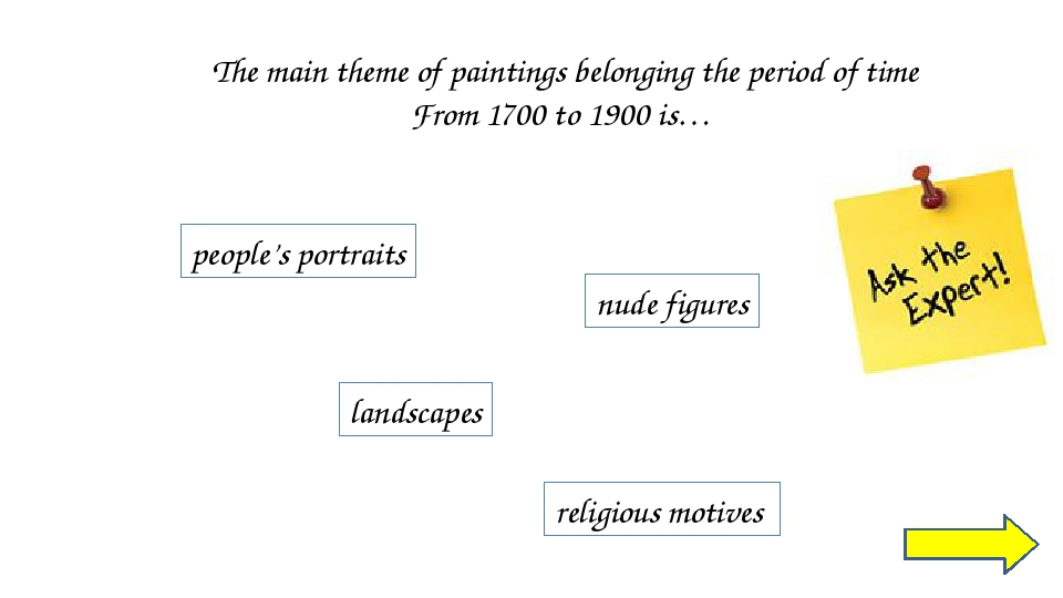 SPEAKING: Guess the painting (pair work) ATTENTION! You must not say the word...