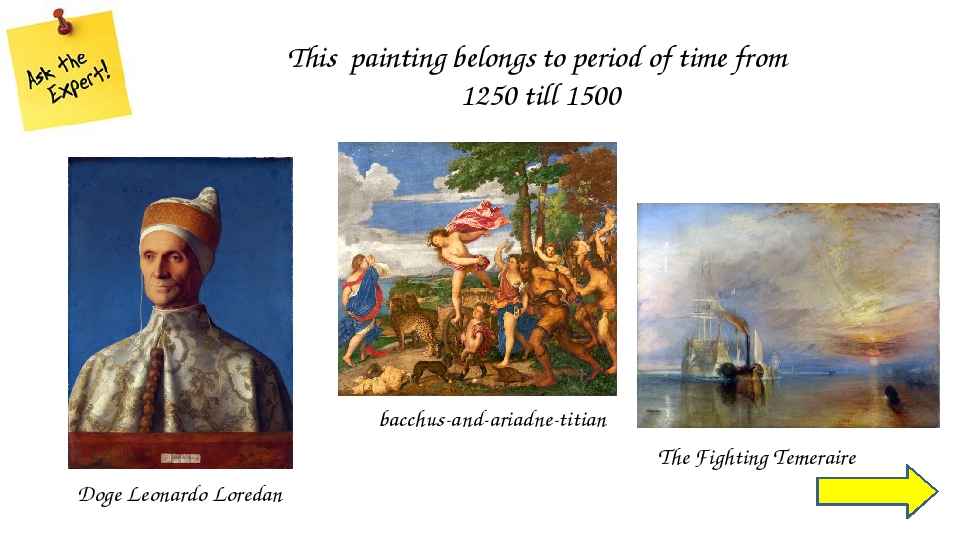 A big amount of paintings expressing this theme belongs the period of time fr...