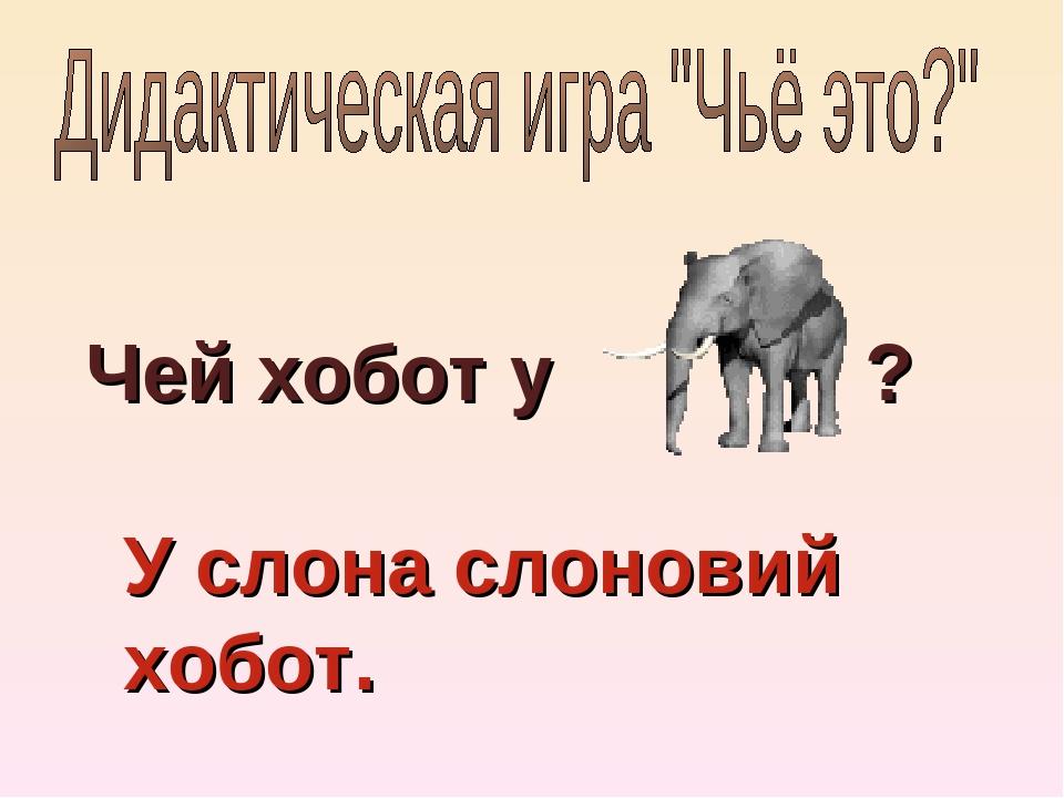Чей хобот у ? У слона слоновий хобот.
