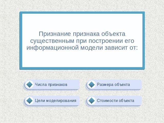 Цели моделирования Размера объекта Стоимости объекта Числа признаков Признани...