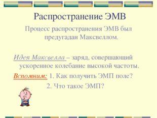 Распространение ЭМВ Процесс распространения ЭМВ был предугадан Максвеллом. Ид