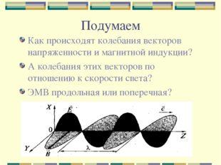 Подумаем Как происходят колебания векторов напряженности и магнитной индукции