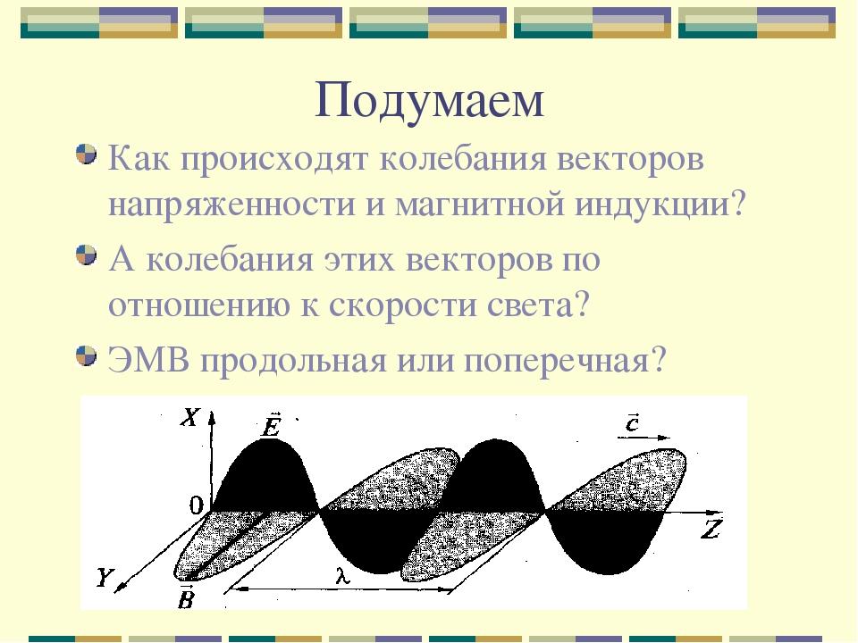 Подумаем Как происходят колебания векторов напряженности и магнитной индукции...