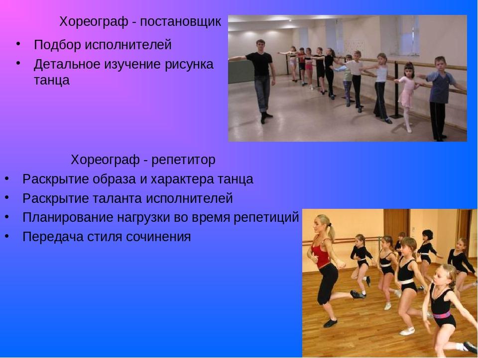 Хореограф - постановщик Подбор исполнителей Детальное изучение рисунка танца...