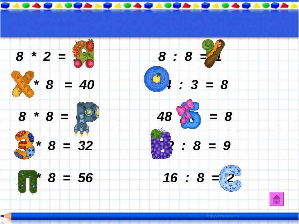 8 * 2 = 16 8 : 8 = 1 5 * 8 = 40 24 : 3 = 8 8 * 8 = 64 48 : 6 = 8 4 * 8 = 32 7...
