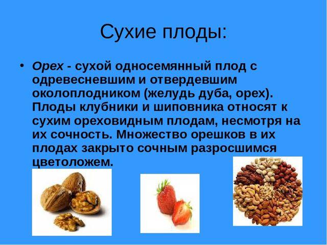 Сухие плоды: Орех - сухой односемянный плод с одревесневшим и отвердевшим око...