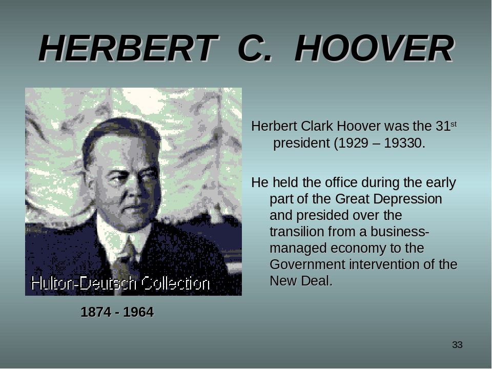 herbert clark hoover essay Herbert hoover had an admirable reservoir of experience in international affairs when he became president in march 1929 he had traveled the world extensively as a mining engineer, served on president wilson's delegation to the peace talks at the end of world war i, and worked on.