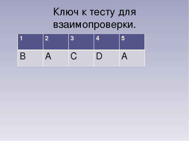 Ключ к тесту для взаимопроверки. 12345 ВАСDА