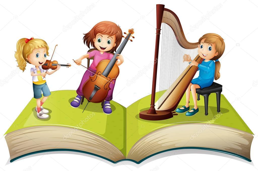Картинка дети с музыкальными инструментами для детей на прозрачном фоне